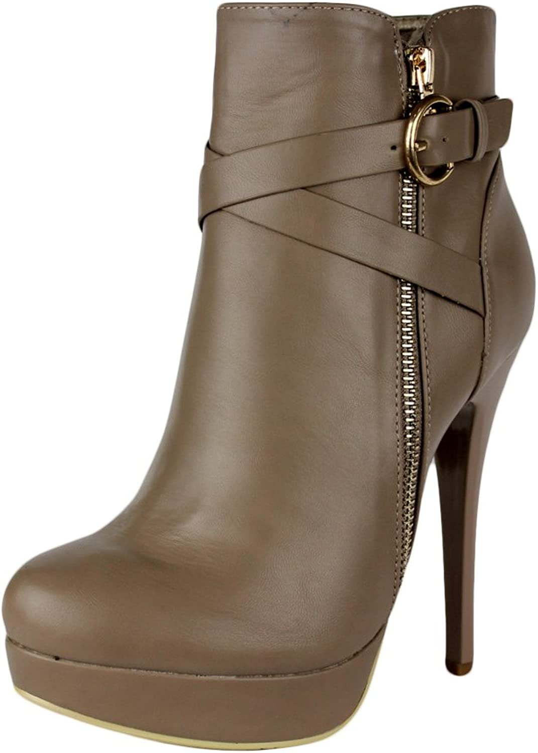 KSC Womens Strappy Stiletto Booties Platform High Heel Ankle Boots