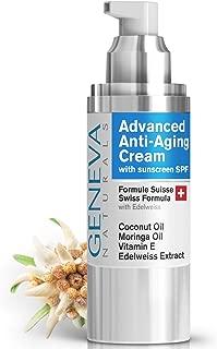 Face Moisturizer with SPF- Anti-Aging Formula with Hyaluronic Acid, Coconut Oil, Vitamin E & Moringa Oil - Facial Sunscreen & Fine Line Reducer - Age Defying Organic Cream - For Men & Women - 1oz