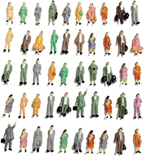 CWBPING 50pcs HO Scale 1:87 Standing Poses People Sit Figures Scenery Passengers 1:87 Scale Model Figures Model Building Kit