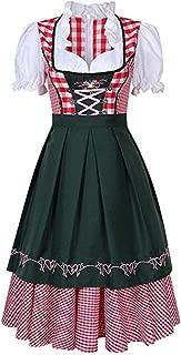 FUTURINO Women's German Dirndl Dress 3 Pieces Traditional Bavarian Oktoberfest Carnival Halloween