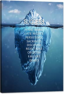 Yatsen Bridge Modern Inspirational Wall Art Iceberg Success Hard Work Motivational Canvas with Wooden Frame Ready to Hang for Office Living Room Decoration - 12''Wx18''H
