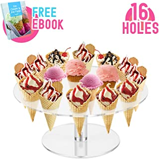 Round Clear Acrylic Mini Ice Cream Cone Holder Stand 16 Holes to Display Sushi Hand Rolls Popcorn Cotton Candy French Fries Sweets Savory, Ice Cream Recipe Ebook Included