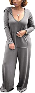 Women Casual Long Sleeve Hooded V-Neck Jumpsuits Rompers