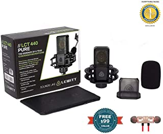 Lewitt Large Diaphragm Condenser Microphone (LCT-440-PURE) Includes Free Wireless Earbuds - Stereo Bluetooth in-Ear and 1 Year EverythingMusc Extended Warranty