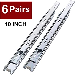6 Pair of 10 Inch Full Extension Side Mount Ball Bearing Sliding Drawer Slides, Available in 10