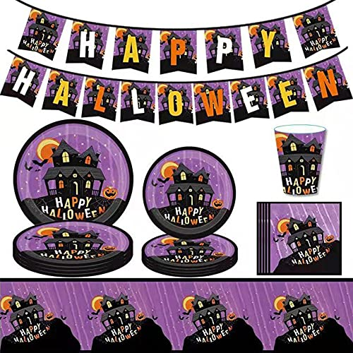 Tableware Set for 10 Guests, Party Dinnerware Kit Halloween Decoration, Including Paper Plates, Paper Cups, Napkins, Table Cloth, etc