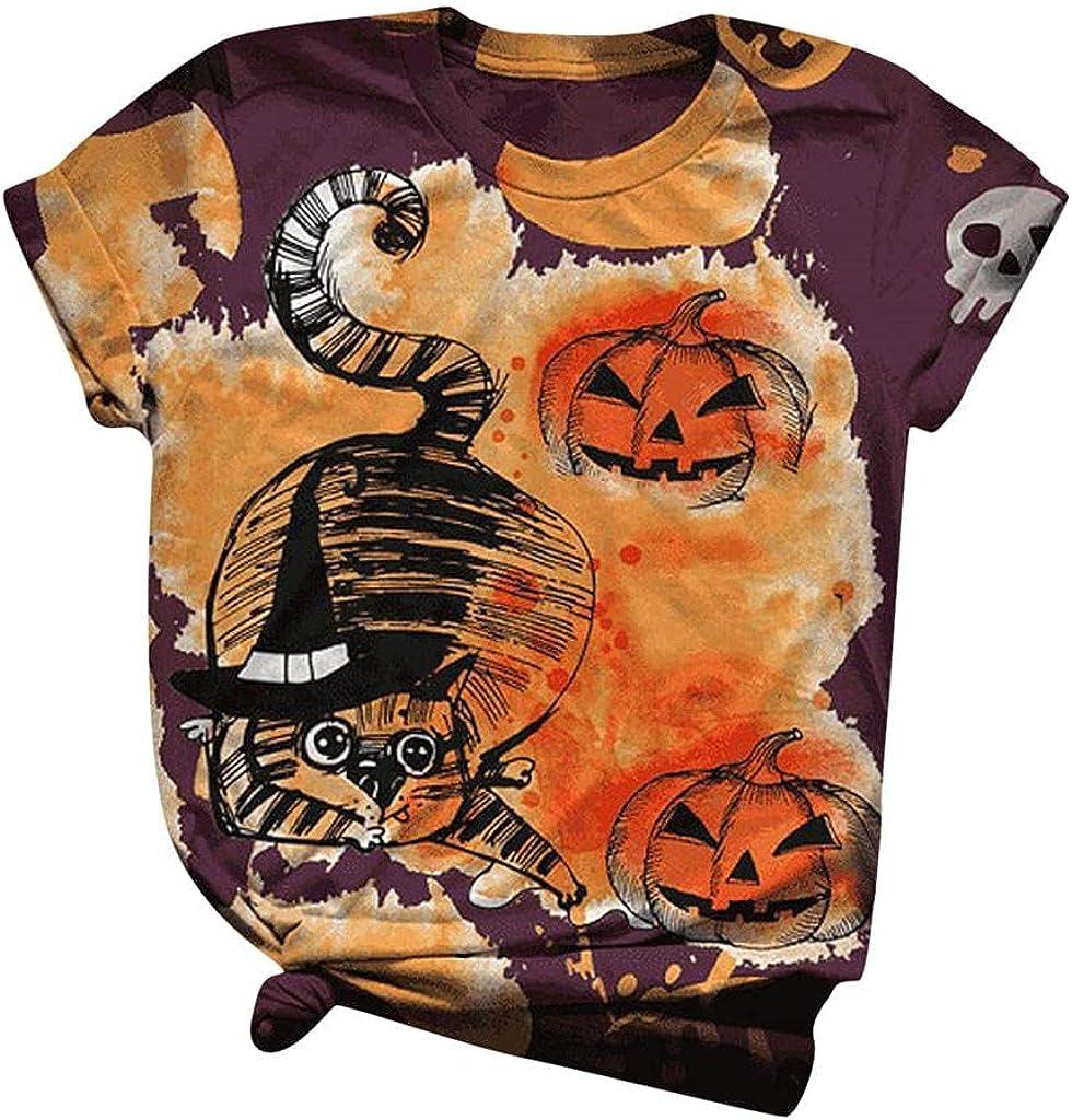 AODONG Halloween Shirts for Women, Womens Halloween Printed Shirts Summer Casual T-Shirt Short Sleeve Blouse Tee Tops