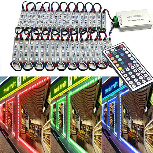 Storefront Light,EAGWELL 20 Ft RGB Store Front Lights 40 Pieces Module LED Lights,2 Set 5050 SMD 120 LED Module Window Strip Light for Letter Advertising Signs