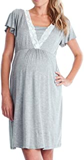 Vestido de Lactancia Maternidad de Noche, Ropa Embarazadas Vestido Enfermería Mujer Manga Corta Vestido Pijama Verano Encaje (Gris, L2)