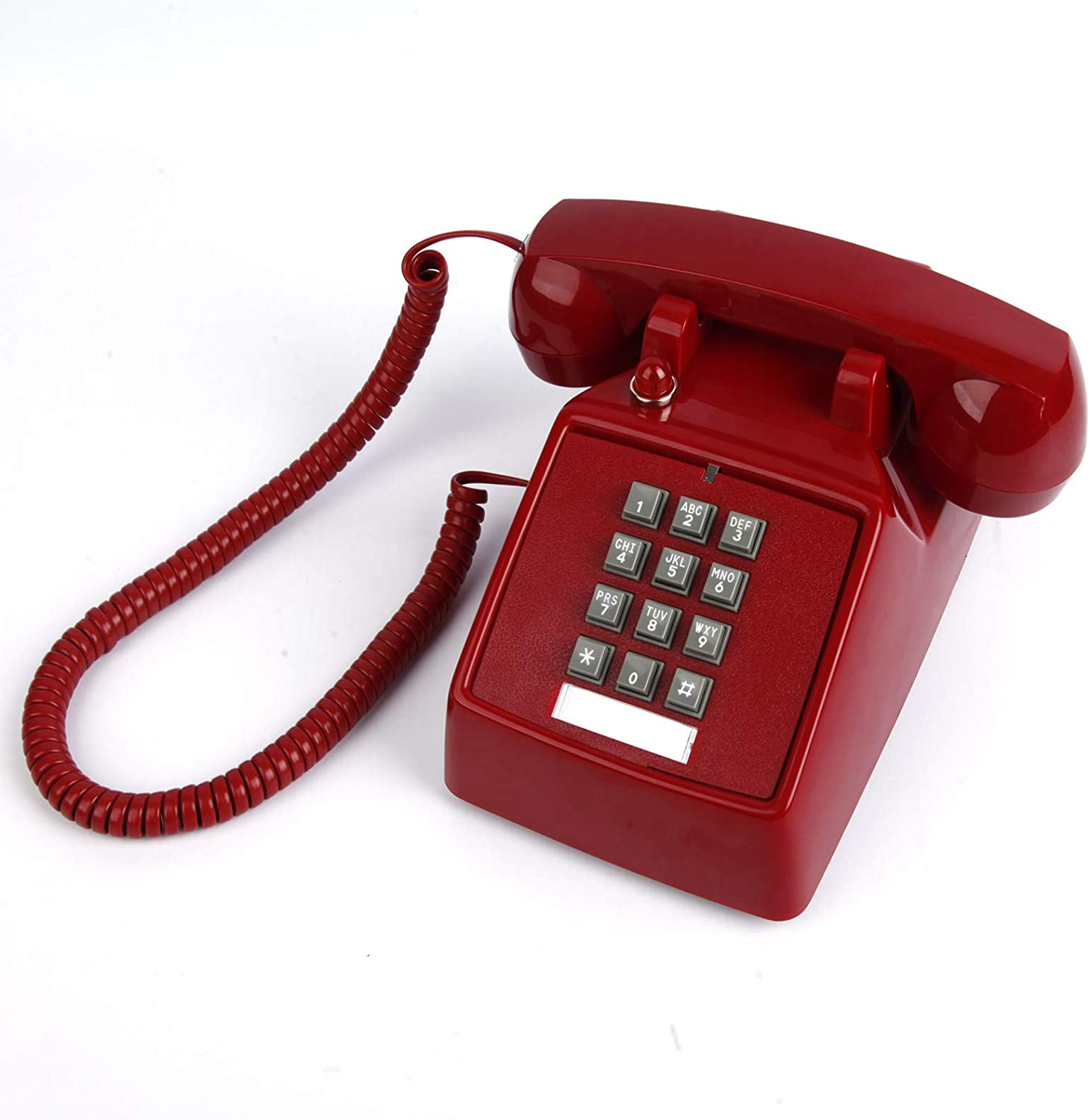 Single Line Corded Desk Phone with Red Indicator, Retro Phone with Extra Loud Ringer, Old Style Desktop Landline Phone for Home, Hotel, Office and School, Ash, Black, Red.