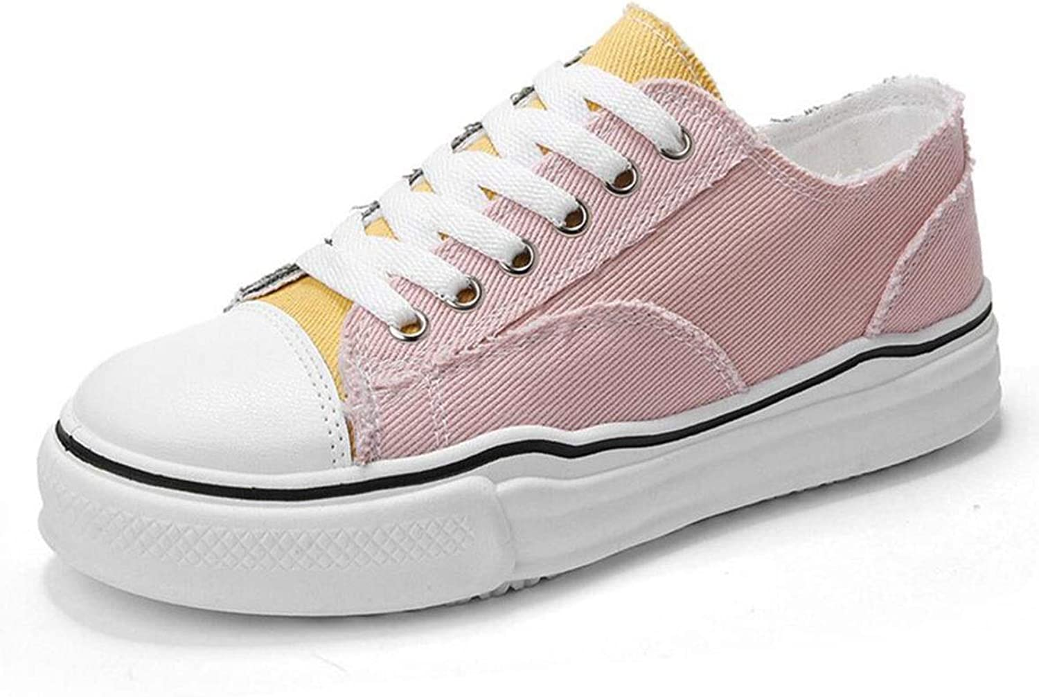 Women's Canvas shoes Casual Sneakers Low Cut Lace Up Fashion Comfortable Walking Flats,Women's Canvas shoes Fashion Low Cut Loafer Sneakers (color   Pink, Size   35)