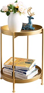 HollyHOME 2-Tier Round Metal End Side Table, Accent Anti-Rust Waterproof Simplistic Sofa Table, Modern Tray Outdoor&Indoor...