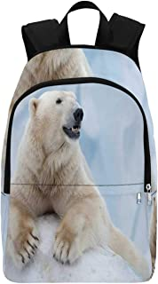 Zoo Durable Backpack,Portrait of Large White Polar Bear on Ice Claws Antarctica North Outdoors Decorative for Adults,11.81