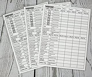 """3 Yardzee Score Cards. Laminated Score Cards With Rules on the Back, Outdoor Yard Games, Outdoor Events. Reusable Score Cards. Size- 8.5"""" x 11"""""""