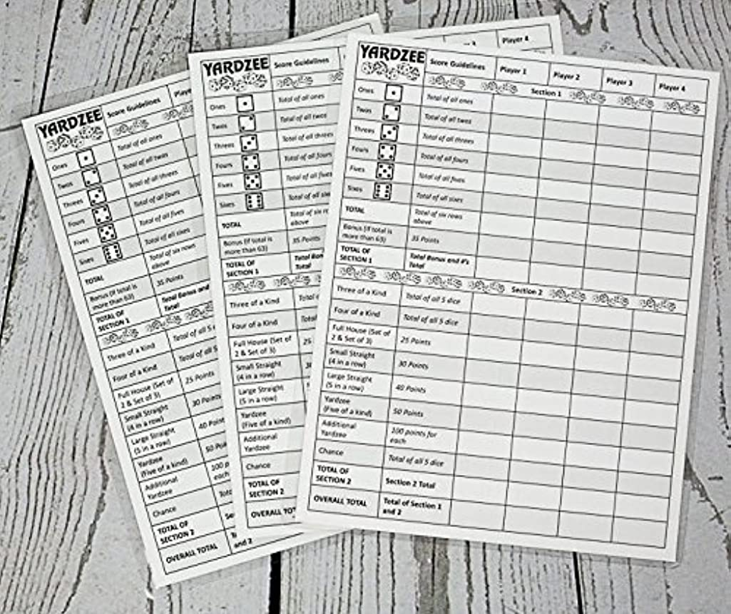 3 Yardzee Score Cards. Laminated Score Cards With Rules on the Back, Outdoor Yard Games, Outdoor Events. Reusable Score Cards. Size- 8.5
