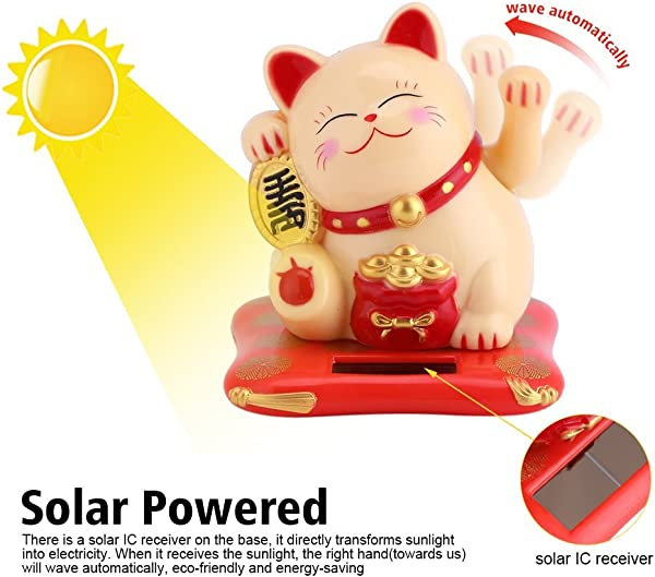 Acogedor Solar Waving Cat Good Luck Cat Welcoming Cat For Home Or Office Display Car Decoration Gift For Friends Or Colleagues White