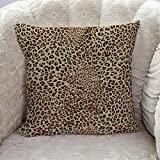 Aomike Decorative Throw Pillow Covers- Sexy Leopard Print Cotton Linen Cushion Cover for Sofa Couch Bed Chair, Ultra Soft and Breathable, 16' x 16'