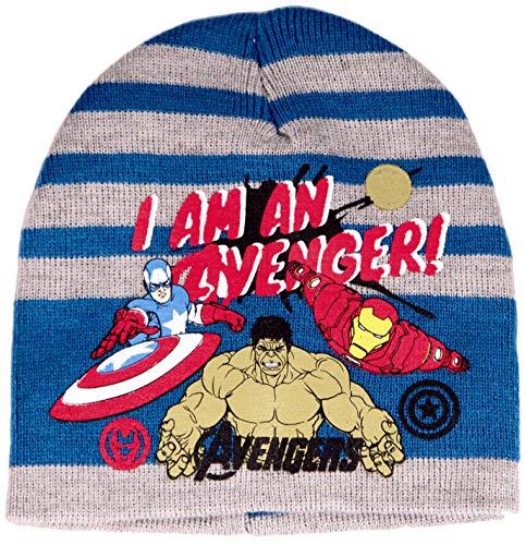 Marvel Avengers Logo für Jungen Mütze Stick Logo Wintermütze gestrickt Stripes (blau, 52)