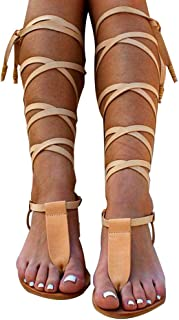 79a440d6a8779 Women Gladiator Sandals Flat,Summer Strappy Lace Up Open Toe Knee High Flat  Sandal