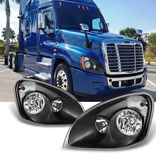 For [Black] 2008-2016 Freightliner Cascadia Halogen Type Driver LH Left & Passenger