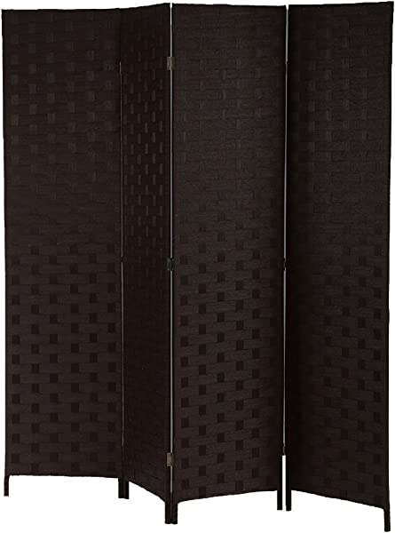 BestMassage Wood Screen Folding Screen Room Dividers 4 Panel Mesh Woven Design Privacy Room Partition Wooden Screen