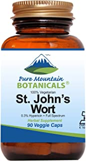 St. John's Wort - 90 Count Capsules (Kosher, Vegan) with Standardized 0.3% Hypericin, 450mg Formula per Cap...