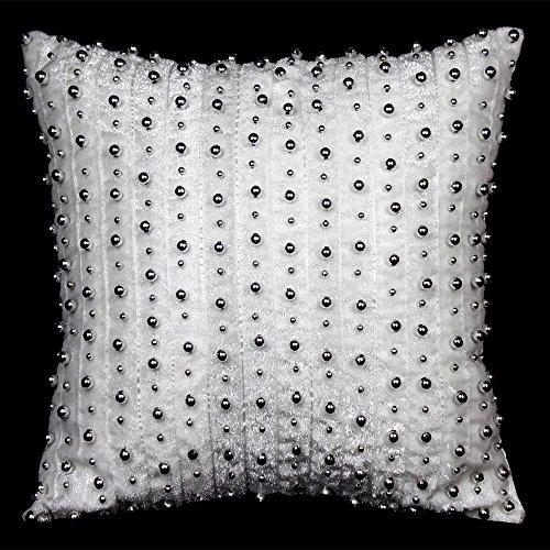 baozengry Nordic Luxury Art Argent coussins oreillers coussin canapé lit manuel cordon Clou 45x45cm with pillow core blanc