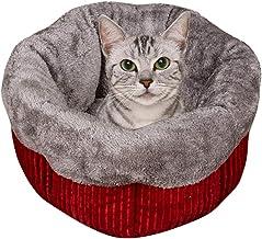 Cat Dog Bed Luxury Faux Fur Cuddler Round Donut Dog Bed Pillow Cuddler Medium Small Pet Stripe Plush Kennel Litter