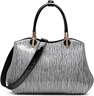 Women's Backpack/Leather Shoulder Bag/Patent Leather/Bright Leather Messenger Bag. jszzz (Color : Gray)