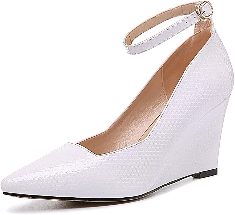 U-MAC Women's High Heels Pumps Platform Buckle Strap Pointy Toe Comfortable shoes