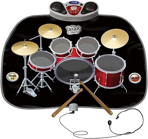 DD-SS-Dance Mat Elektrisches Musikspielmatten-Spielzeuginstrument-Schlagzeug-Set Mit Kopfürern mit Mikrofon- und SchlagzeugStücken für Kinder