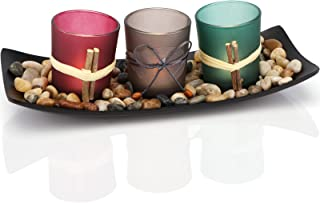 DARJEN Candle Holders Tray and Rocks,Candle Holders Gift Set for Mom Women,Candlescape Centerpiece Set of 3 Tea Light,Home...