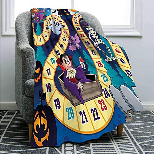 "Flannel Fleece Microfiber Bed Blanket,Halloween Theme Symbols Happy Witch Girl Vampire Ghost Pumpkins Happy Comic Twin Size(66 x 90"") Lightweight Cozy Couch Bed Super Soft & Warm,Multicolor"