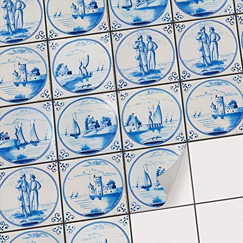 Fliesensticker Mosaikfliesen für Küche u. Bad Deko I Selbstklebende Fliesenbilder - Dekorative Fliesenfolie für Küchenrückwand und Fliesenspiegel I 10x10 cm - Motiv Holländische Fliese - 9 Stück