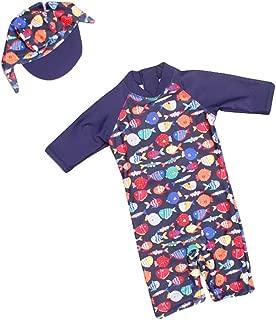 ベビー 水着 スク水 スイムスーツ 赤ちゃん水着 キッズスクール 子供 水遊びパンツ キャップ付き 魚の柄 可愛い おしゃれ(4T 85cm-95cm)