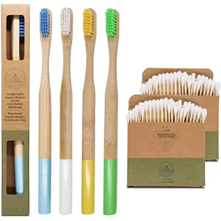 Cepillo de dientes de bambú ecológico y biodegradable   Mango redondeado sin plástico   Filamentos medio duros sin BPA   100% Natural Set de 4 cepillos  🎁 GRATIS 200 bastoncillos de algodón de bambú