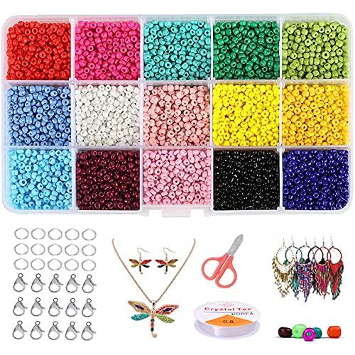 7500 piezas Cuentas de Colores, Mini Cuentas y Abalorios Cristal,Abalorios para hacer pulseras,Para DIY Pulseras Collares Bisutería (3mm)