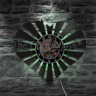 几何心形乙烯基唱片挂钟小夜灯功能壁挂艺术装饰 12 英寸 Lp 手工礼品
