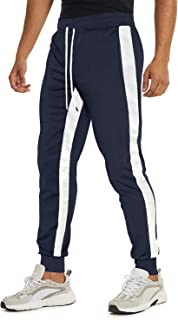 TACVASEN Men's Joggers Fitness Pants Cotton Running Side Stripe Elastic Waist Sweatpants