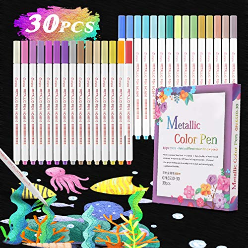 Buluri Acrylstifte Marker Stifte, 30 Farben Metallic Marker Stifte Marker Set Art Filzstift Acrylic Painter PremiumSchnelltrocknend Paint Pen für Black CardStein, Fotoalbum Ostergeschenk