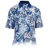 Monterey Club Men's Grand Paradise Print Polo Shirt #1536 (Kalvin Blue/Gray, Large)