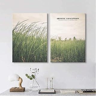 QIDINGUSA Affiche nordique paysage Prairie Toile peinture Vert bonne humeur Affiches et..