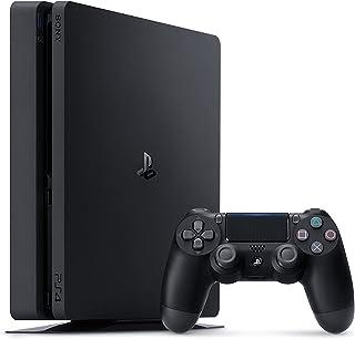 PlayStation 4 - وحدة تحكم (1 تيرا بايت، لون اسود، تصميم نحيف) متضمنة. لعبة فيفا 18 + 2 ذراع تحكم دوال شوك