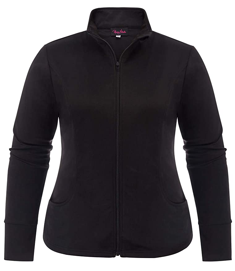 Hanna Nikole Women's Plus Size Sports Jacket Lightweight Full Zip Workout Jacket with Pockets