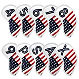Golf Iron Head Covers Set 10pcs/Set Iron Headcover Golf Iron Club Cover USA American Flag for Titleist, Callaway, Ping, Taylormade PXG0311 (White2)