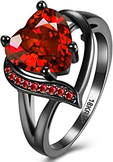 Romantic Black Gold Plated Promise Band Ring Wedding Red Heart Cubic Zirconia Rings for Women
