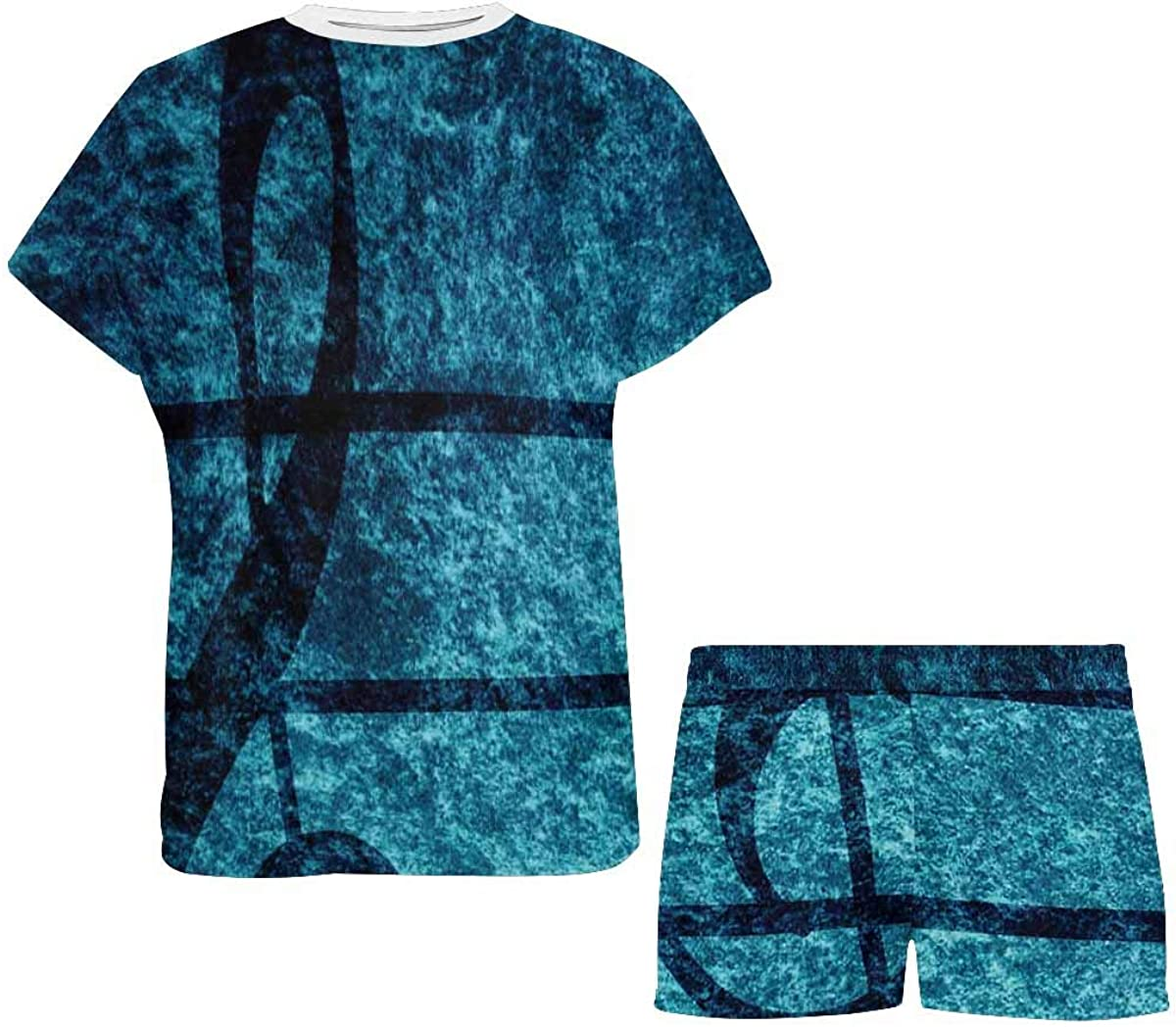 InterestPrint Music Note Treble Women Sleepwear Short Sleeves Pajama Sets