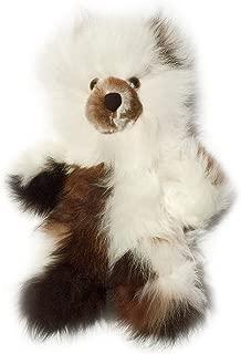 Baby Alpaca Fur Teddy Bear - Hand Made 10 Inch Multi - White/Dark Chocolate