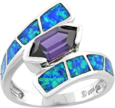 Sterling Silver Blue Synthetic Opal Hexagon Cut Ring for Women Amethyst CZ Center 3/4 inch