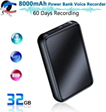 Digital Voice Recorder, 8000mh Power Bank Up to 60 Days Continuous Recording Device, 32GB Voice Activated Recorder, Functional Portable Charging Device, 500 Days Standby   Built-in Strong Magnet